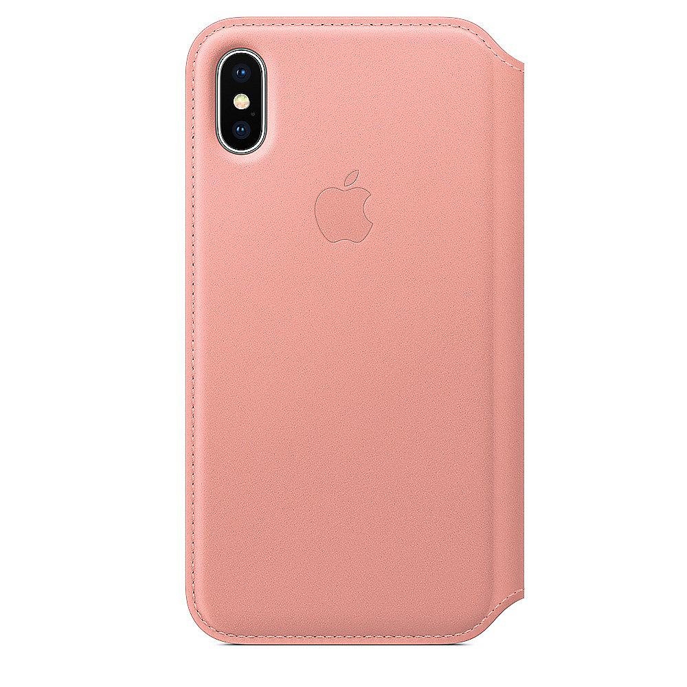 Apple Original iPhone X Leder Folio Case-Zartrosa