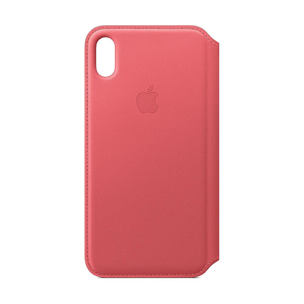 Apple Original iPhone XS Max Leder Folio Case-Pfingstrosenpink
