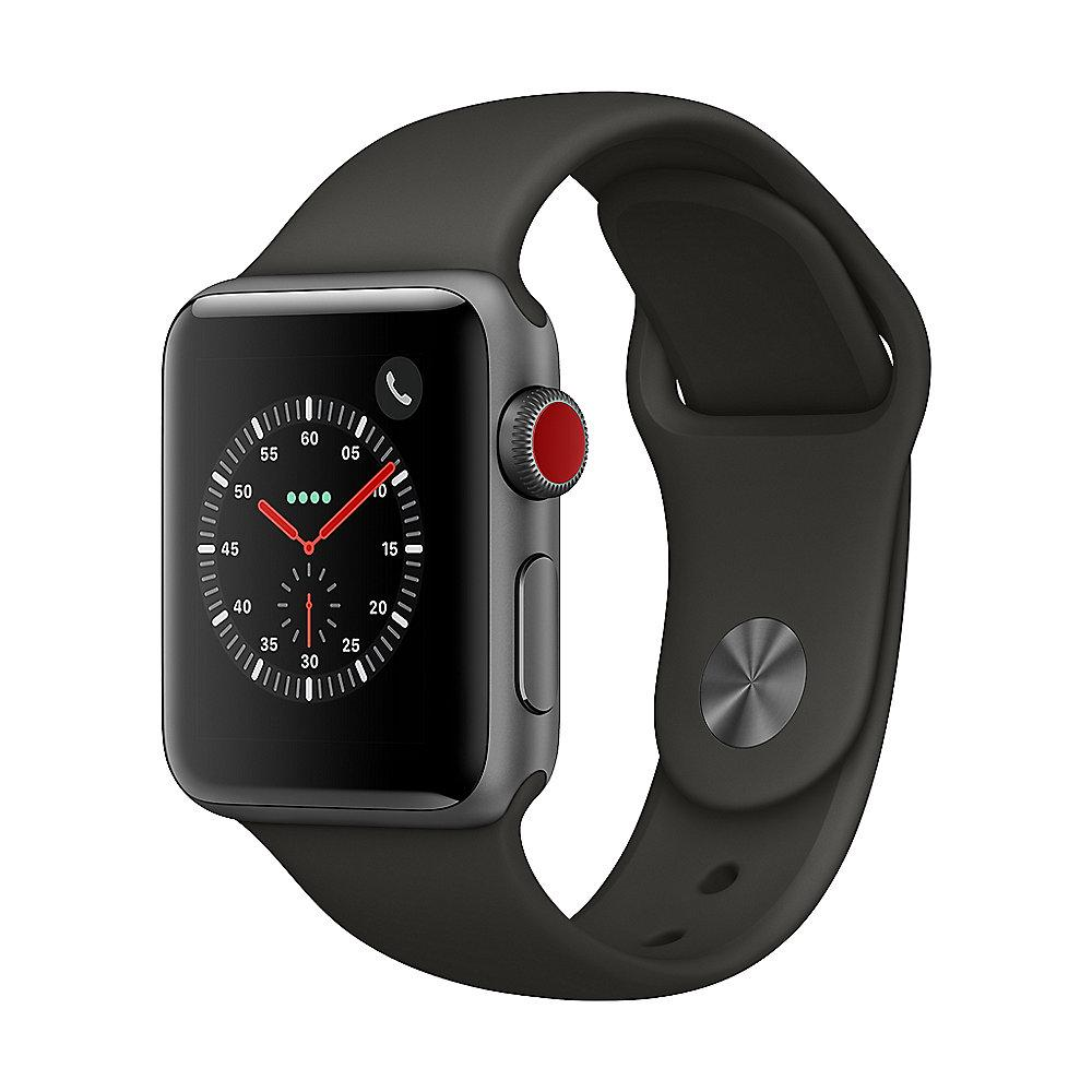 Apple Watch Series 3 LTE 38mm Aluminiumgehäuse Space Grau Sportarmband Grau