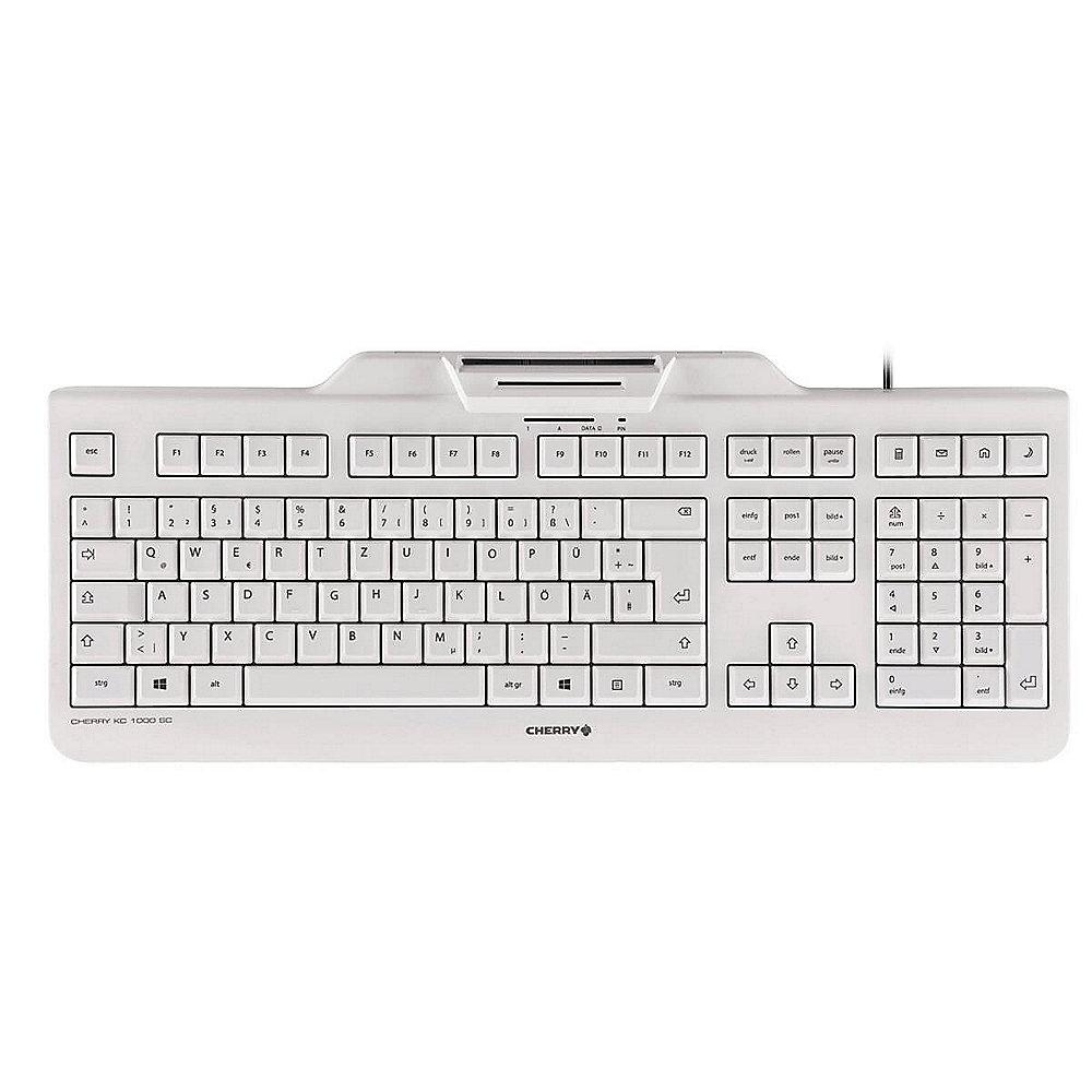 Cherry KC 1000 SC Keyboard mit Smart Card Reader USB US Layout weiß/ grau