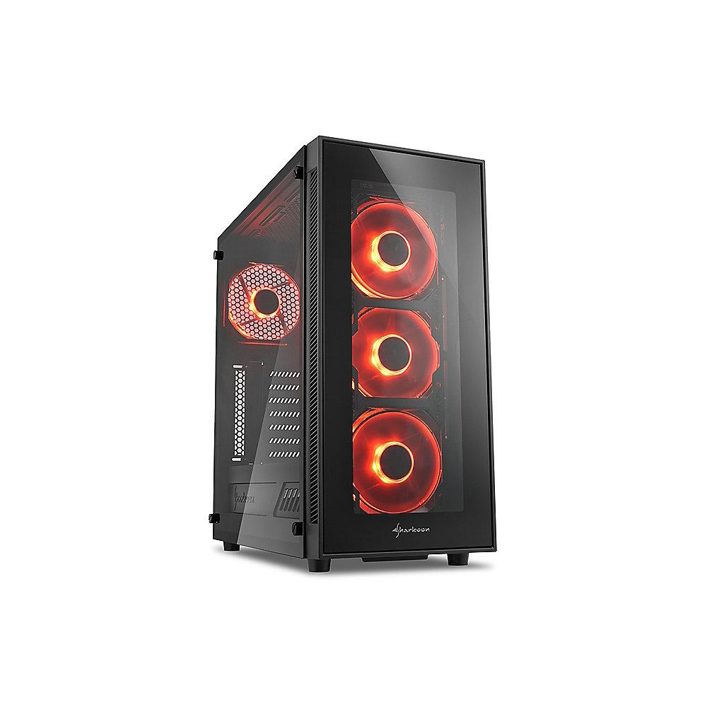 Sharkoon TG5 Midi-Tower ATX Gaming Gehäuse Rote LED, Seitenfenster