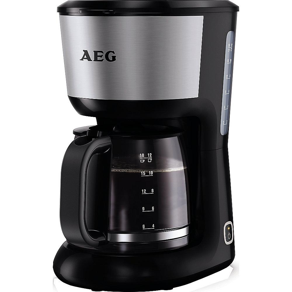 AEG KF 3700 Kaffeeautomat Perfect Morning Schwarz Silber