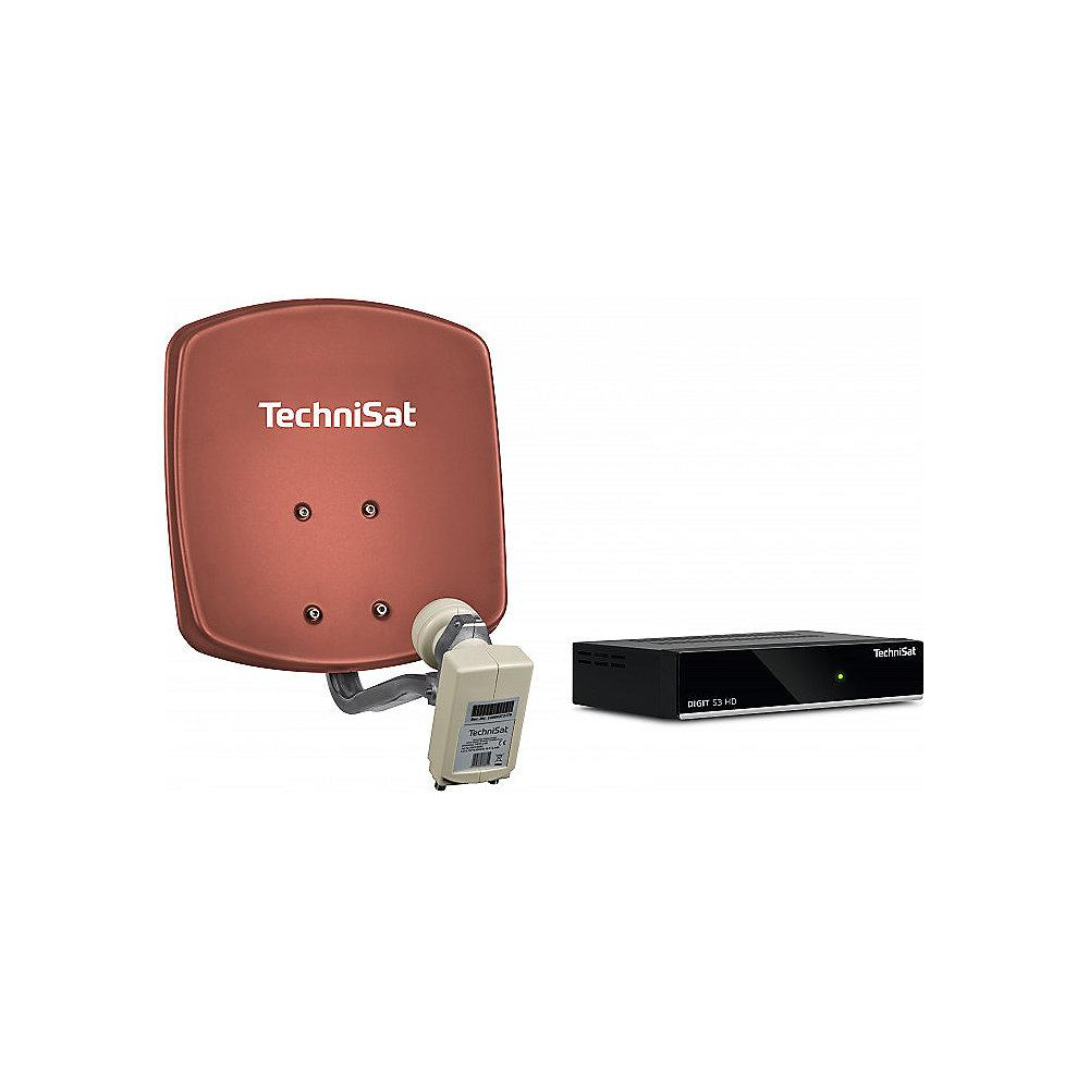 TechniSat DigiDish 33 rot Komplettanlage (Twin) inkl. DIGIT S3 HD, 10 m Kabel